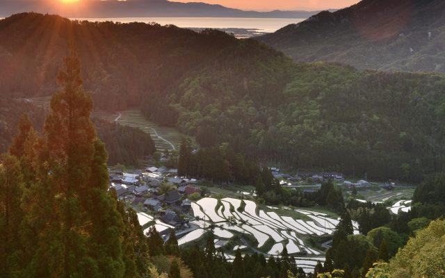 Lake Biwa and Mt. Jadanigamine